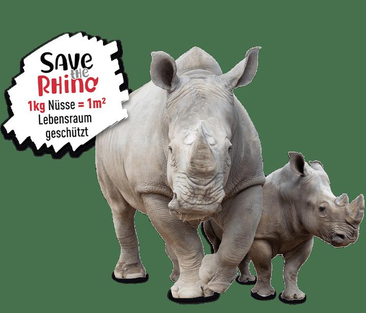 Save the Rhino mit Red Rhino Nüssen