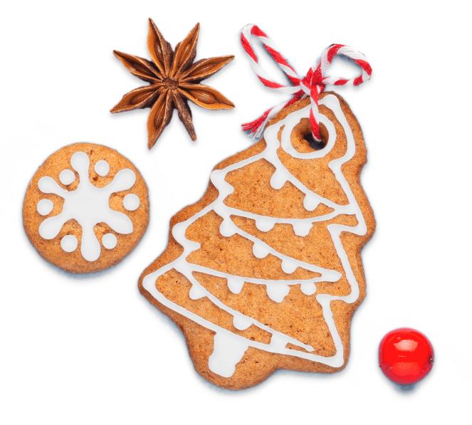 Lebkuchen und Sternanis mit Weihnachtsmotiven