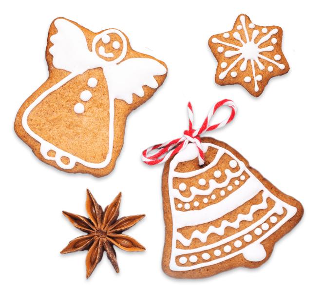 Lebkuchen mit Weihnachtsmotiven