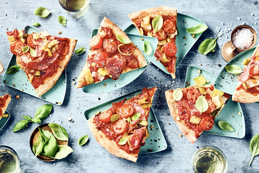 Lauch-Salami-Pizza