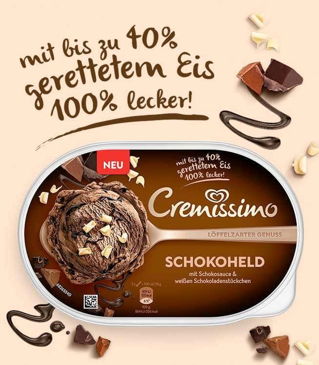 cremissimo schokoheld mit 40% geretteter Schokolade