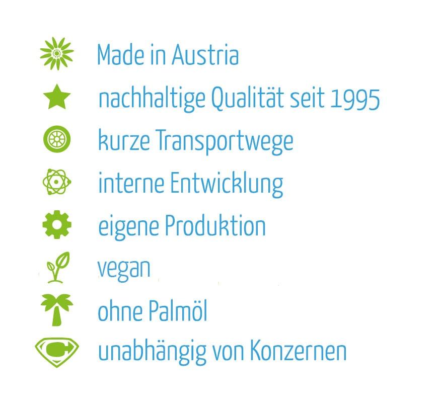 claro aus Österreich - nachhaltig, kurze Transportwege, interne Entwicklung, eigene Produktion, vegan, ohne Palmöl
